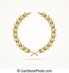 gouden, krans, laurier