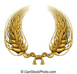 gouden, krans, tarwe, goud, laurier