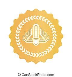 gouden kroon, binnen, krans, koninklijk, zeehondje, laurier