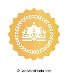gouden kroon, koninklijk, meldingsbord, prachtig, goedkeuring, ronde