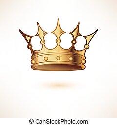 gouden kroon, koninklijk, vrijstaand, white.