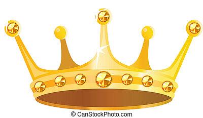 gouden kroon, met, edelsteenen, vrijstaand, op wit,...