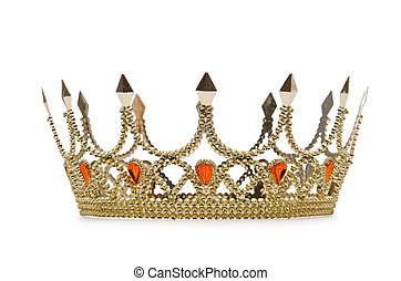 gouden kroon, vrijstaand, op, de, witte