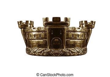 gouden kroon, vrijstaand, op, white.