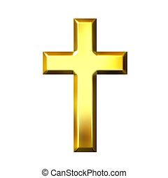 gouden, kruis, 3d