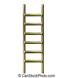 gouden, ladder, 3d