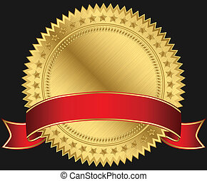 gouden, leeg, rood, etiket