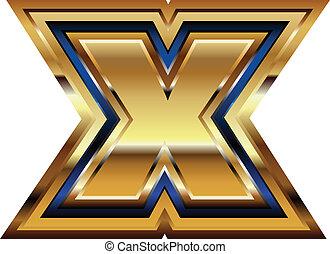 gouden, lettertype, brief x