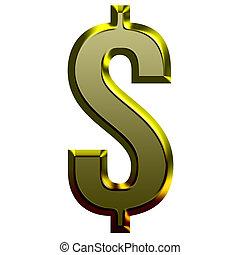 gouden, lettertype, illustratie, 3d