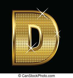 gouden, lettertype, type, brief, d