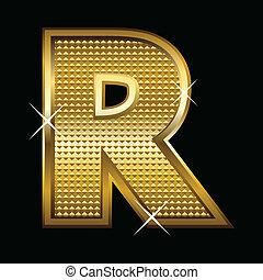 gouden, lettertype, type, brief, r