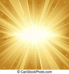 gouden, licht, sterretjes, barsten