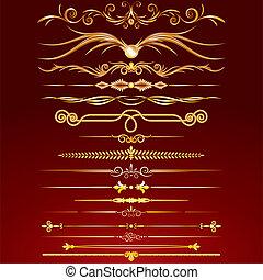gouden, lijnen, verzameling, regel