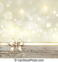 gouden, lint, boog, met, bokeh, kerstversiering