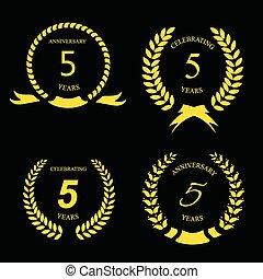 gouden, lint, jubileum, illustratie, etiket, vector, vijf, jaren