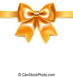 gouden, lint, vrijstaand, boog, achtergrond, witte , zijde