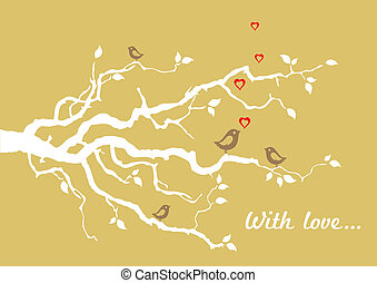 gouden, love', 'with, begroetende kaart