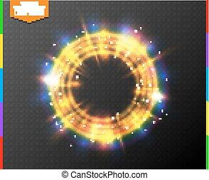 gouden, magisch, kleurrijk licht, abstract, neon, effect, het fonkelen, transparant, schijnwerper, achtergrond., gloeiend, spark., portaal, doorschijnend, semitransparent, ring, lijn, bijzondere , gloed
