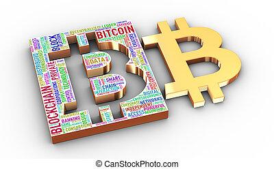 gouden, markeringen, symbool, bitcoin, chainblock, wordcloud, 3d