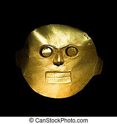 gouden, masker, in, de, goud, museum, bogota, colombia