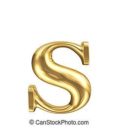 gouden, mat, onderkast brief, s, juwelen, lettertype,...