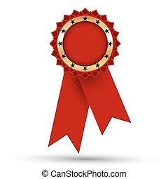 gouden, medaille, linten, rood