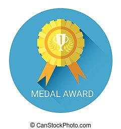 gouden, medaille, toewijzen, pictogram