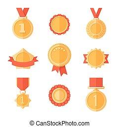 gouden, medals.