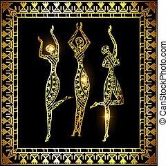 gouden, meiden, dancing
