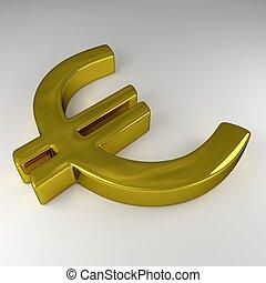 gouden, meldingsbord, 3d, eurobiljet