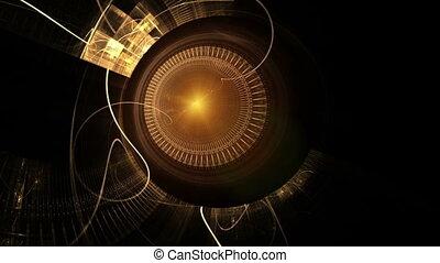 gouden, metaal, de wielen van het toestel, oud, klokken samenstel van bewegende delen