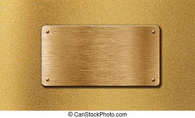 gouden, metaalplaat