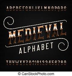 gouden, middeleeuws, ouderwetse , sierlijk, letters., font., alfabet