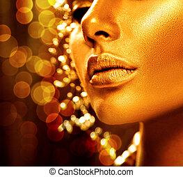 gouden, mode, kunst, beauty, skin., verticaal, model, meisje