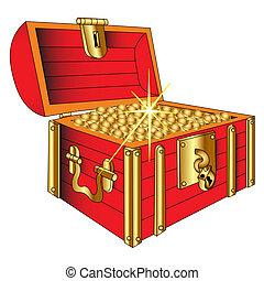 gouden munt, koffer, het glanzen