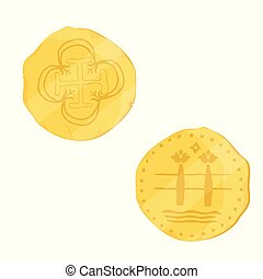 gouden, munt, oud