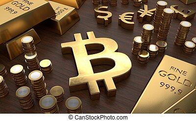 gouden, muntstukken., gereproduceerd, symbool, bitcoin, concept., investering, 3d