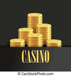 gouden, muntstukken., poster, casino, flyer, achtergrond, geld, of