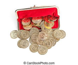 gouden muntstukken, verspreid, vrijstaand, buidel, achtergrond, witte , zilver, rood