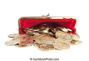 gouden muntstukken, verspreid, vrijstaand, buidel, warme, achtergrond, wit rood