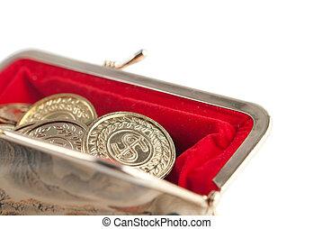 gouden muntstukken, verspreid, vrijstaand, buidel, warme, achtergrond, witte , zilver, rood