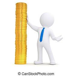 gouden muntstukken, volgende, stapel, witte , man, 3d