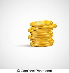 gouden muntstukken, vrijstaand, achtergrond, witte , stapel