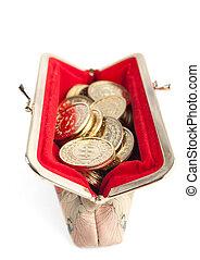 gouden muntstukken, vrijstaand, buidel, warme, achtergrond, witte , zilver, rood