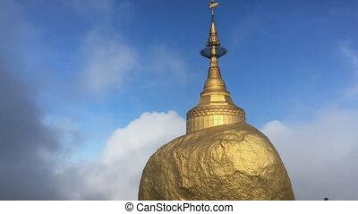 gouden, myanmar, pagoda, rots, lapse-kyaikhtiyo, tijd