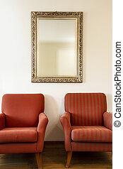 gouden, natuurlijke schoonheid, stoelen, licht, spiegel, twee, ingelijst, muur, komst, buitenkant., witte , zacht