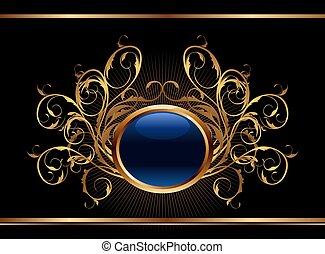 gouden, ontwerp, achtergrond, sierlijk