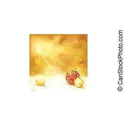 gouden, ontwerp, baubles, rood, kerstmis
