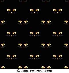 gouden, oog, seamless, kat, zwarte achtergrond