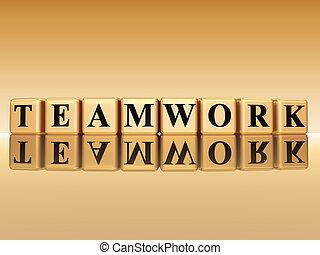 gouden, op, teamwork, reflectie, achtergrond